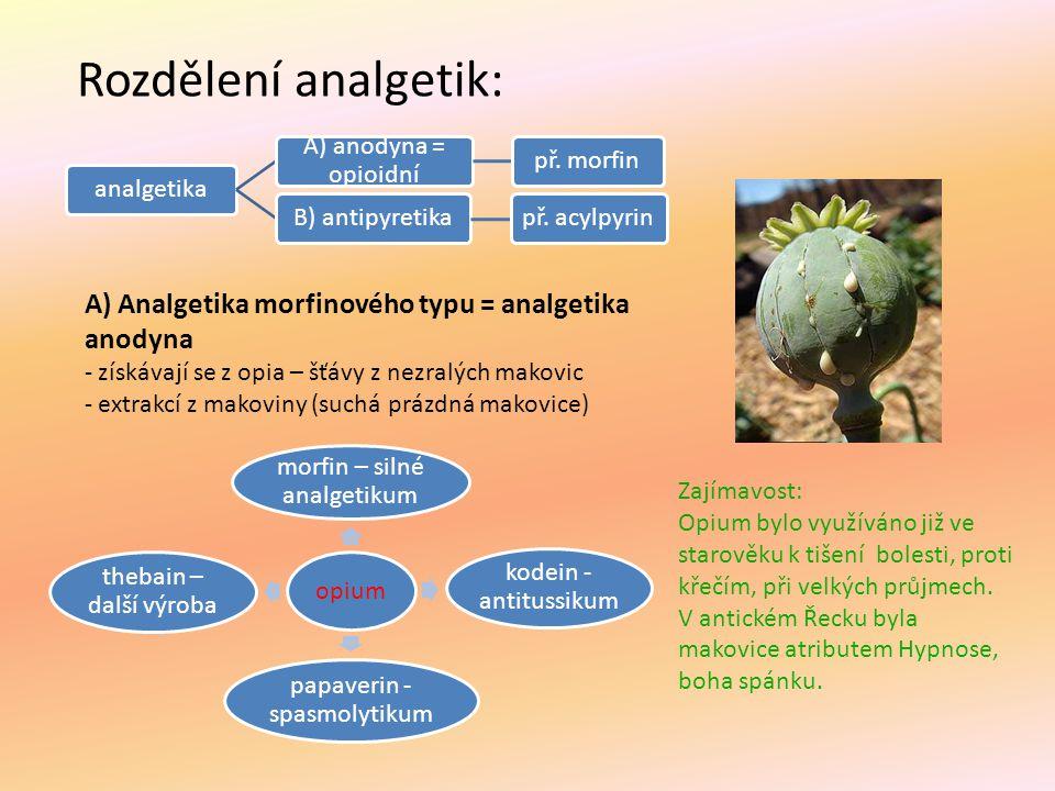 Rozdělení analgetik: analgetika. A) anodyna = opioidní. př. morfin. B) antipyretika. př. acylpyrin.