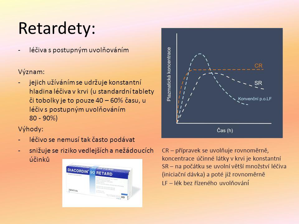 Retardety: léčiva s postupným uvolňováním Význam: