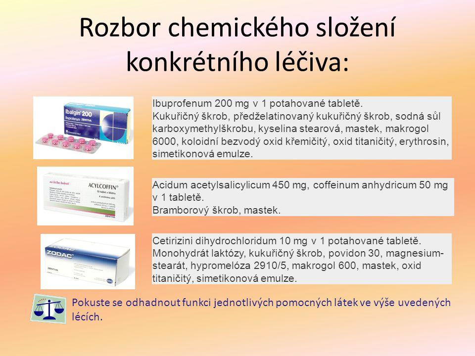 Rozbor chemického složení konkrétního léčiva: