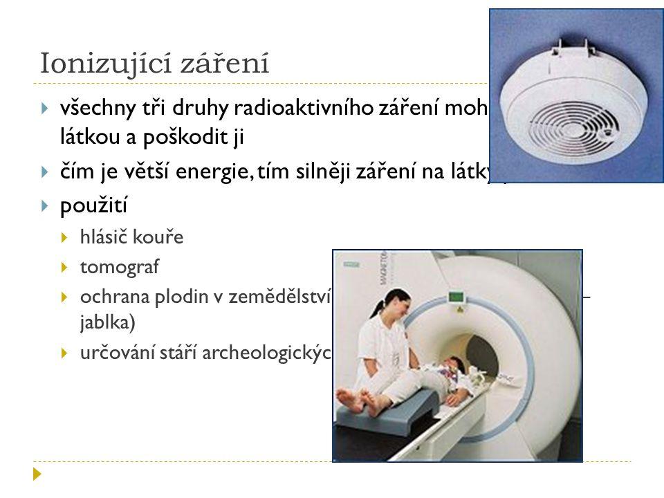 Ionizující záření všechny tři druhy radioaktivního záření mohou reagovat s látkou a poškodit ji.