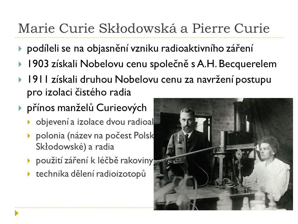 Marie Curie Skłodowská a Pierre Curie
