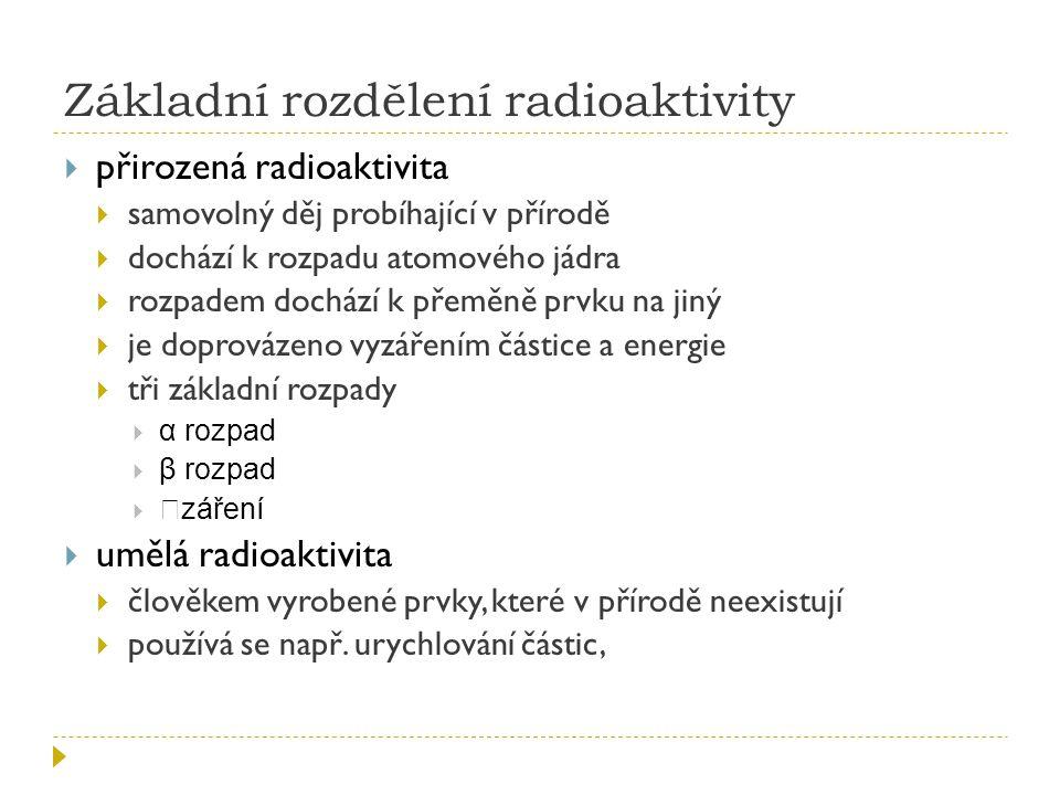 Základní rozdělení radioaktivity