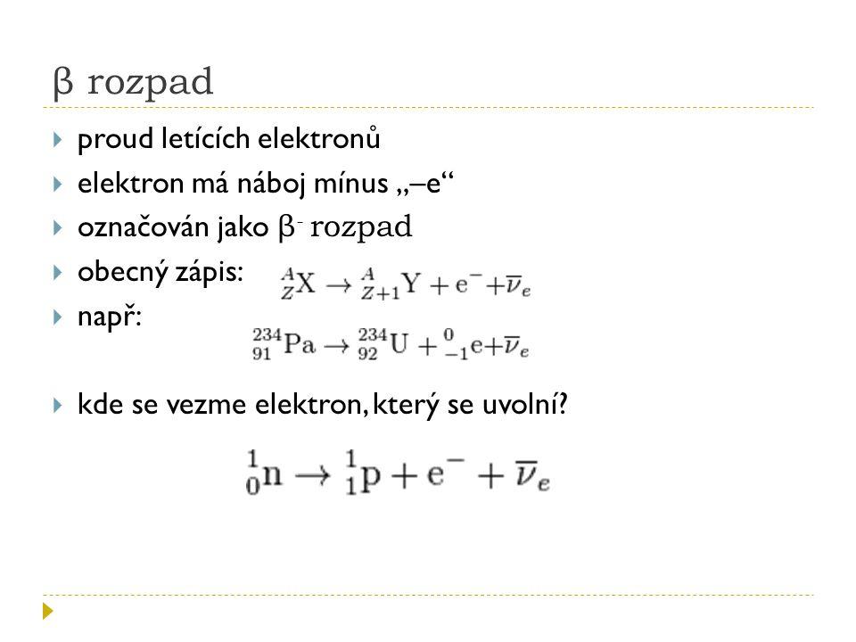 """β rozpad proud letících elektronů elektron má náboj mínus """"–e"""