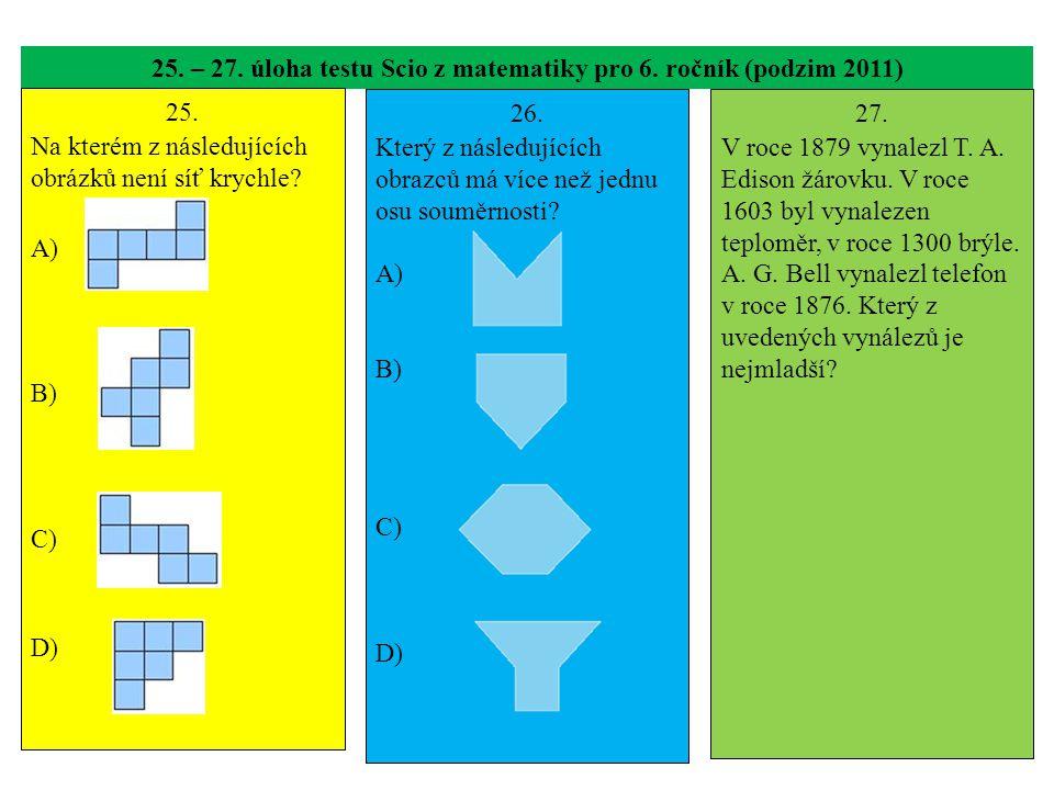 25. – 27. úloha testu Scio z matematiky pro 6. ročník (podzim 2011)
