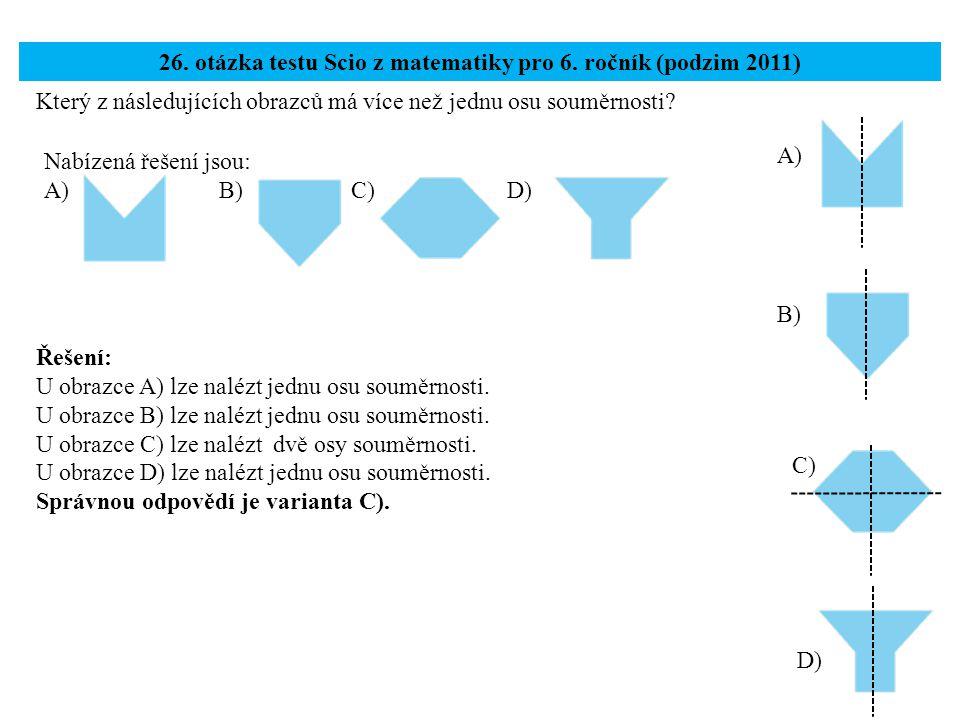 26. otázka testu Scio z matematiky pro 6. ročník (podzim 2011)