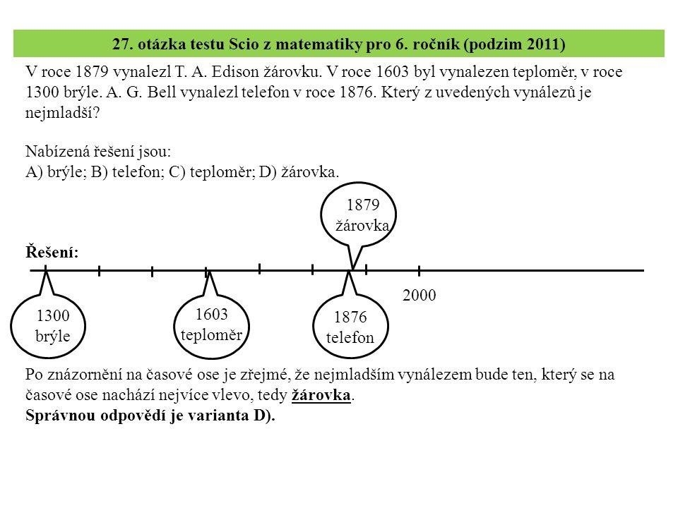 27. otázka testu Scio z matematiky pro 6. ročník (podzim 2011)
