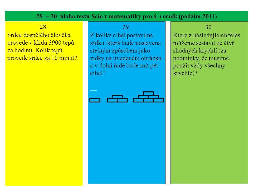 28. – 30. úloha testu Scio z matematiky pro 6. ročník (podzim 2011)