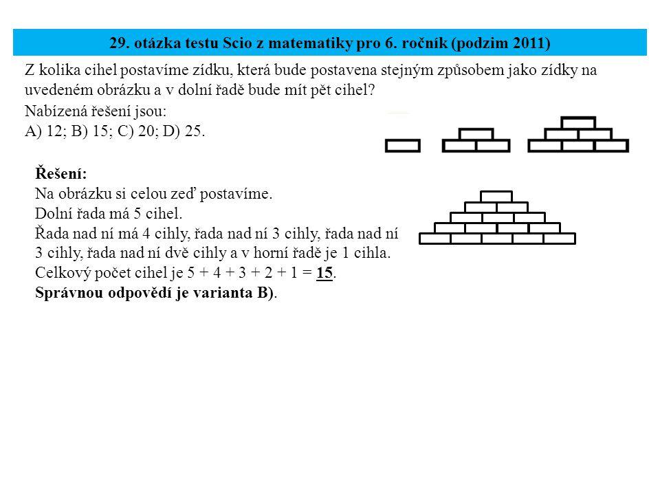 29. otázka testu Scio z matematiky pro 6. ročník (podzim 2011)