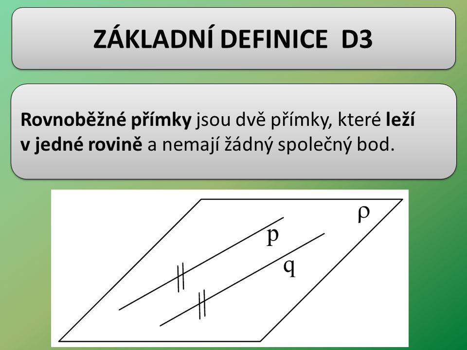 ZÁKLADNÍ DEFINICE D3 Rovnoběžné přímky jsou dvě přímky, které leží