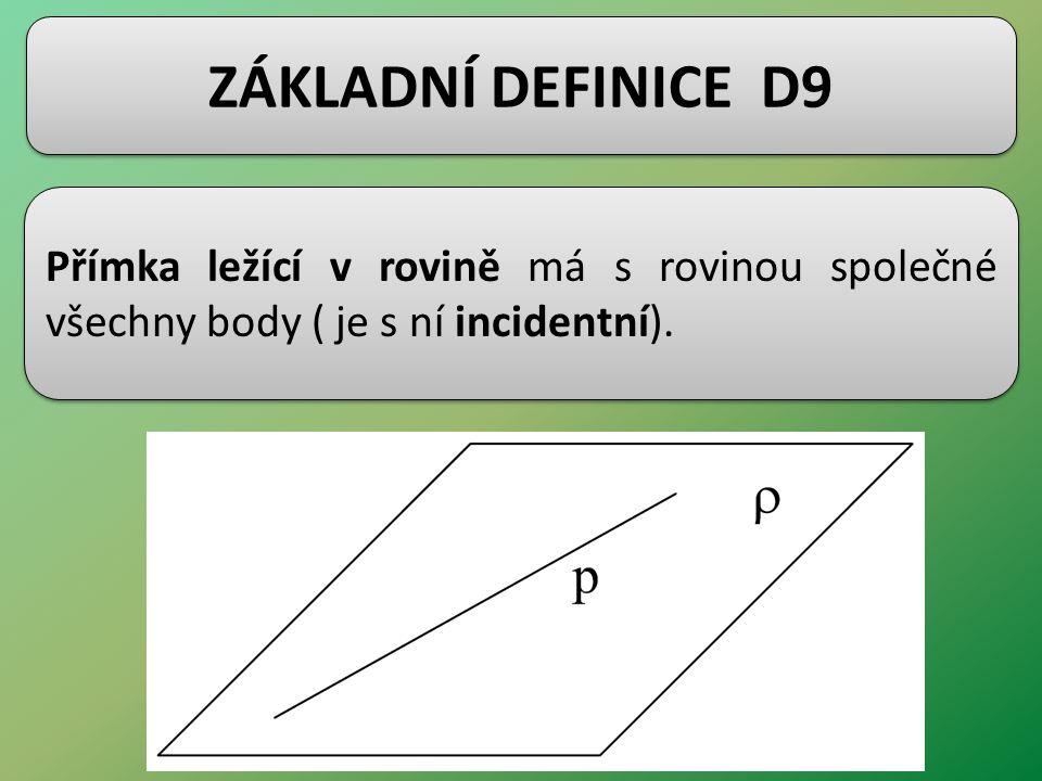 ZÁKLADNÍ DEFINICE D9 Přímka ležící v rovině má s rovinou společné všechny body ( je s ní incidentní).