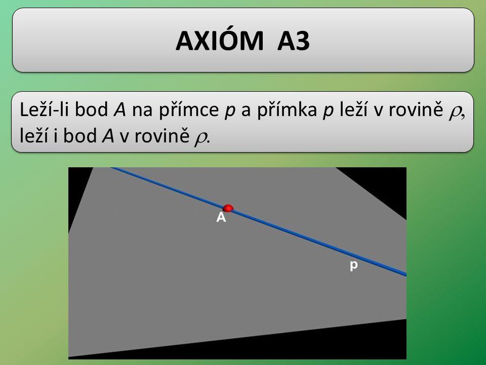 AXIÓM A3 Leží-li bod A na přímce p a přímka p leží v rovině r, leží i bod A v rovině r.
