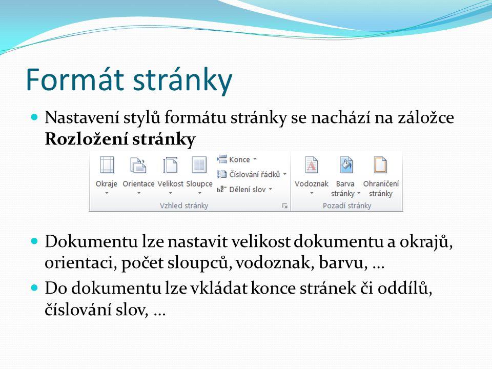 Formát stránky Nastavení stylů formátu stránky se nachází na záložce Rozložení stránky.