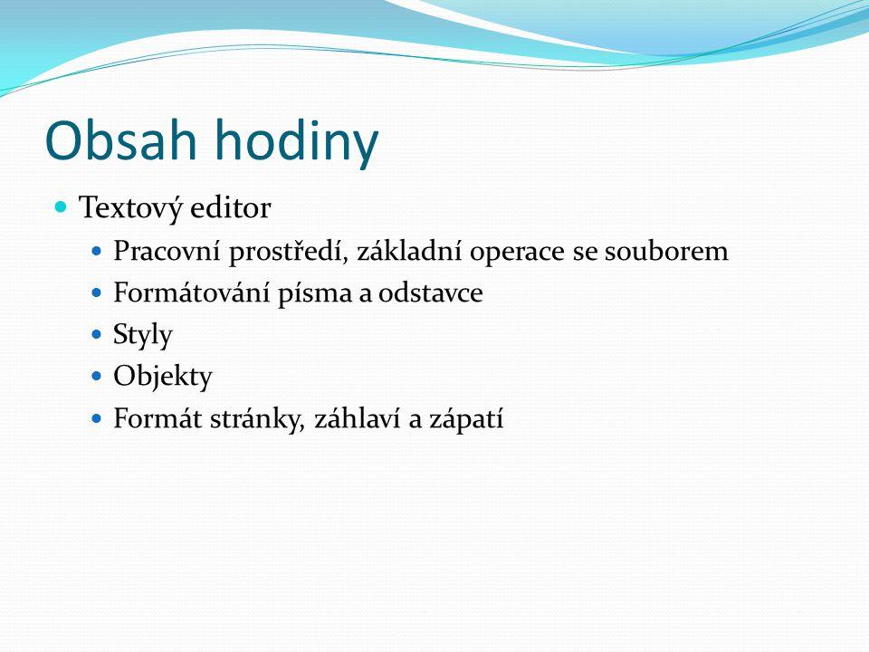Obsah hodiny Textový editor