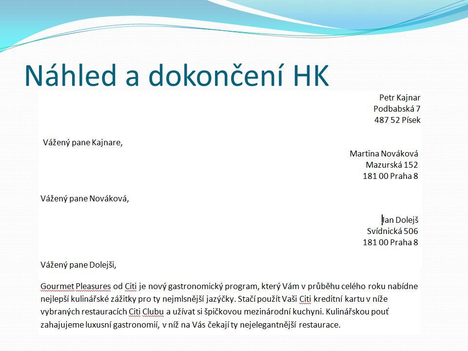 Náhled a dokončení HK Po slidu příklad