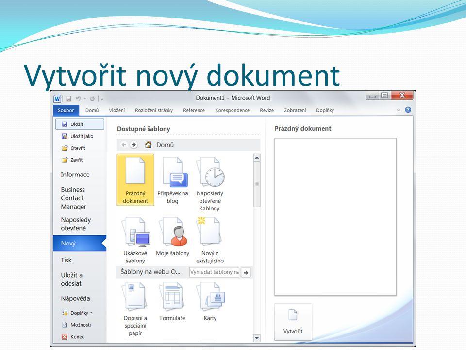 Vytvořit nový dokument