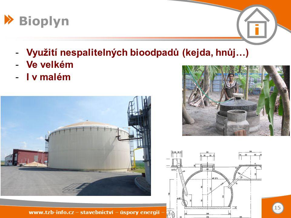 Bioplyn Využití nespalitelných bioodpadů (kejda, hnůj…) Ve velkém
