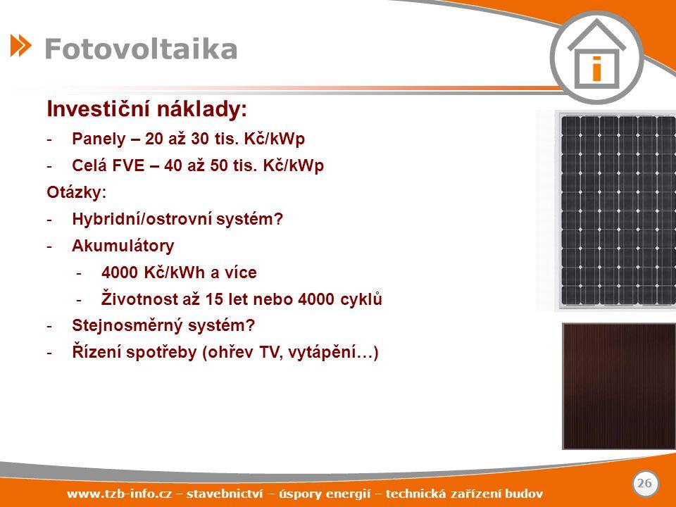 Fotovoltaika Investiční náklady: Panely – 20 až 30 tis. Kč/kWp