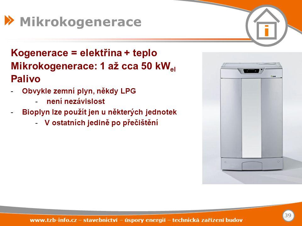 Mikrokogenerace Kogenerace = elektřina + teplo