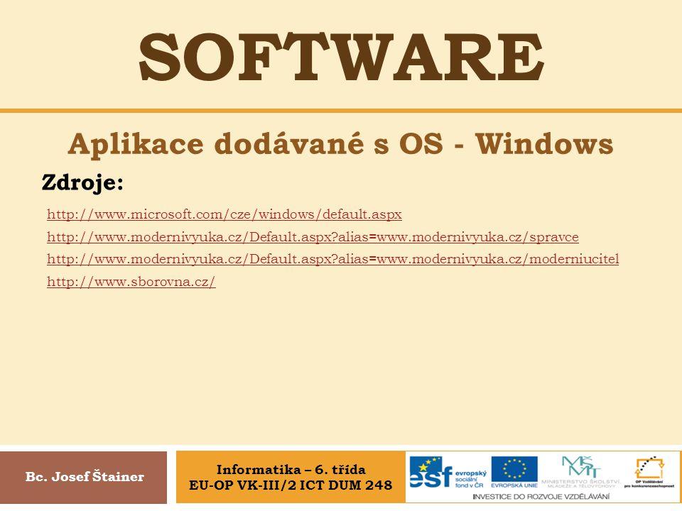 Aplikace dodávané s OS - Windows