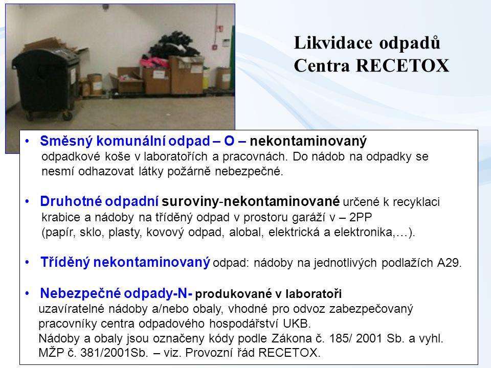 Likvidace odpadů Centra RECETOX