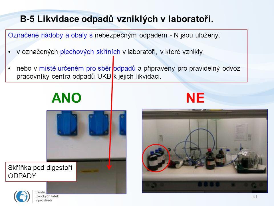 ANO NE B-5 Likvidace odpadů vzniklých v laboratoři.