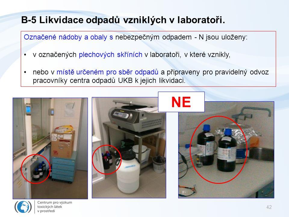NE B-5 Likvidace odpadů vzniklých v laboratoři.