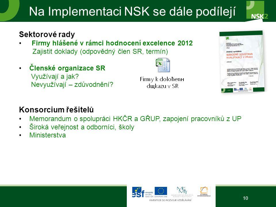 Na Implementaci NSK se dále podílejí