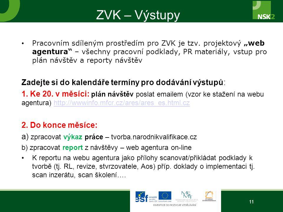 ZVK – Výstupy Zadejte si do kalendáře termíny pro dodávání výstupů: