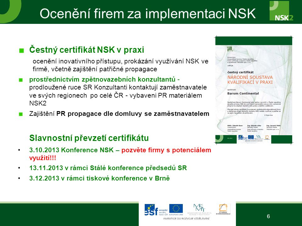 Ocenění firem za implementaci NSK
