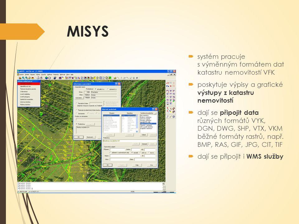 MISYS systém pracuje s výměnným formátem dat katastru nemovitostí VFK