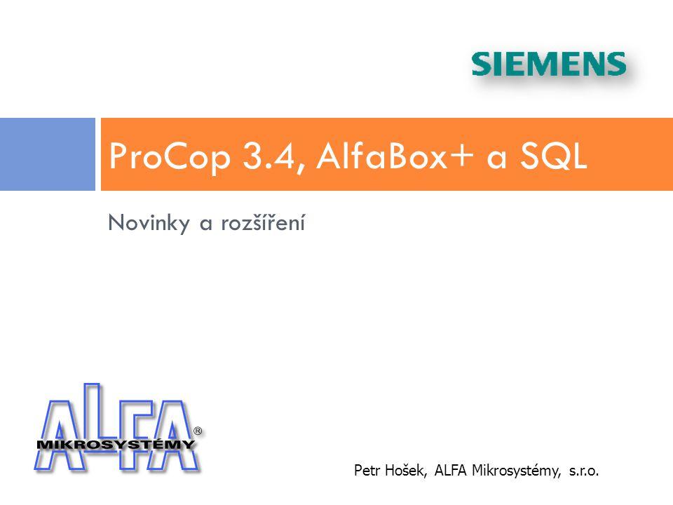 ProCop 3.4, AlfaBox+ a SQL Novinky a rozšíření