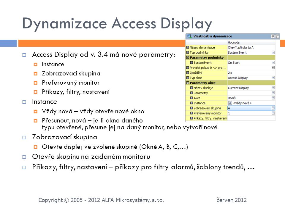 Dynamizace Access Display