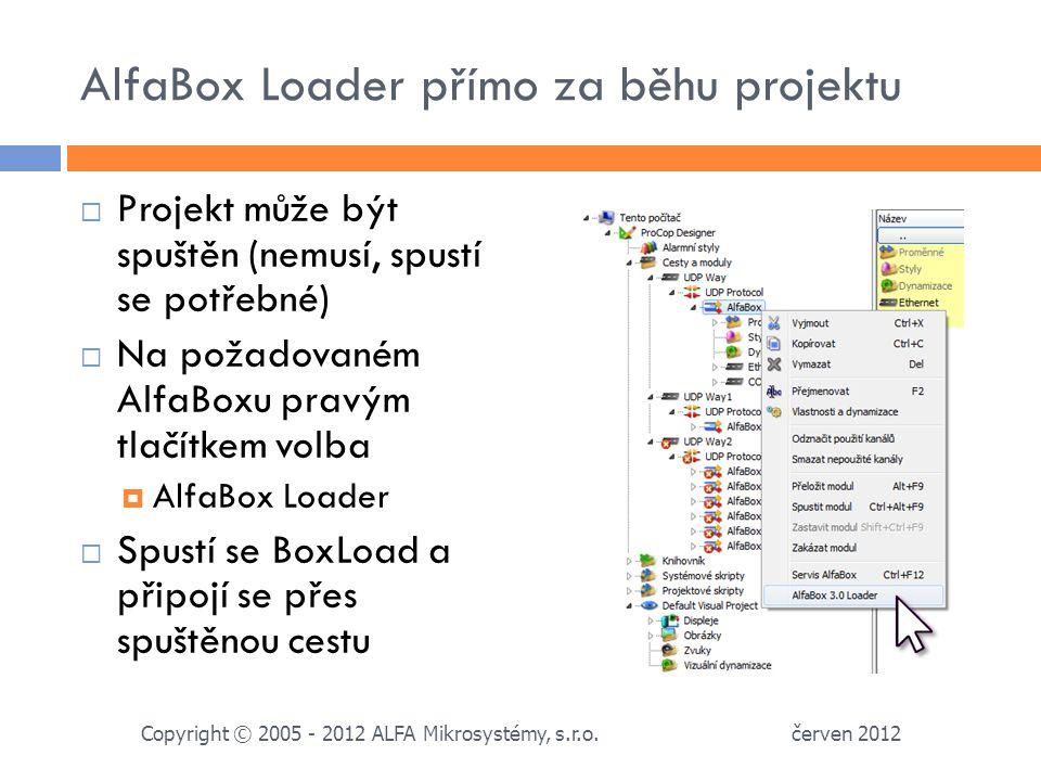 AlfaBox Loader přímo za běhu projektu