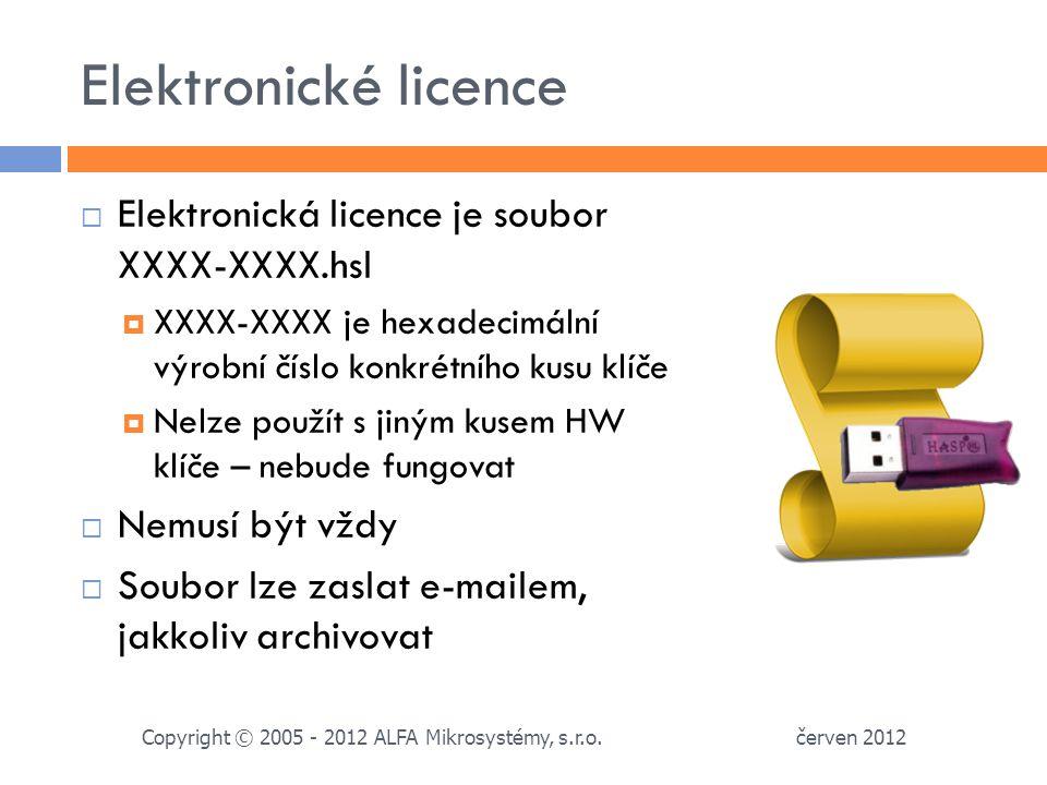 Elektronické licence Elektronická licence je soubor XXXX-XXXX.hsl
