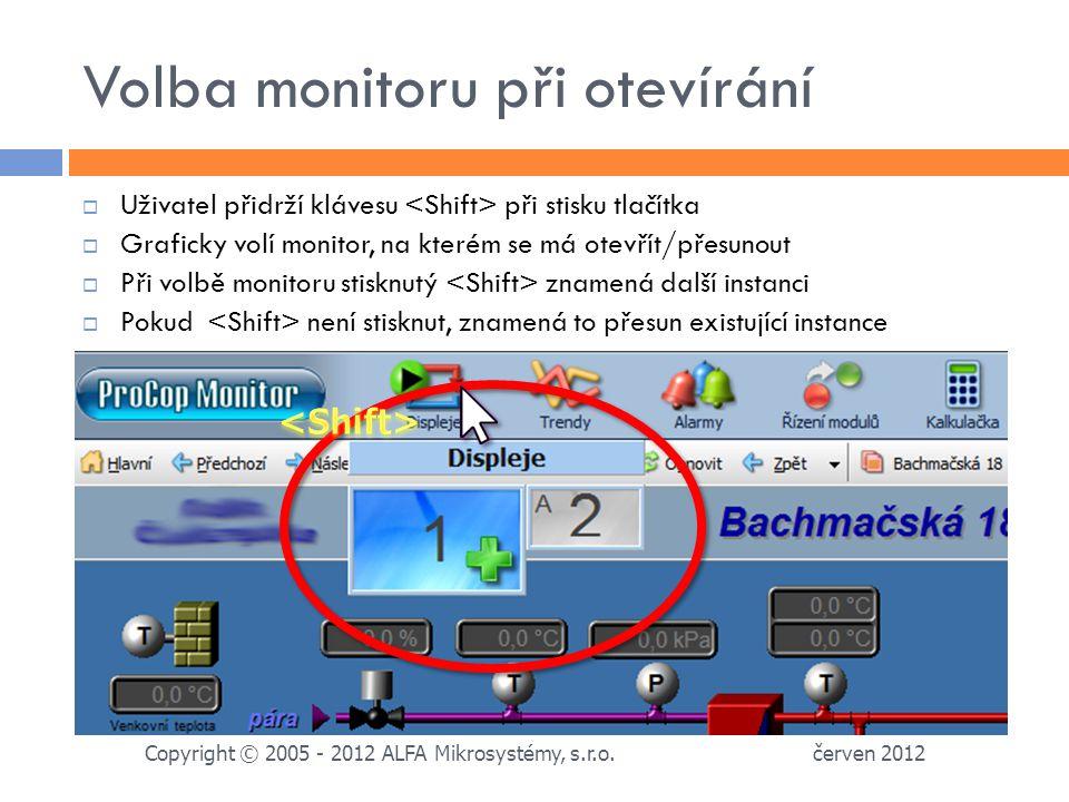 Volba monitoru při otevírání