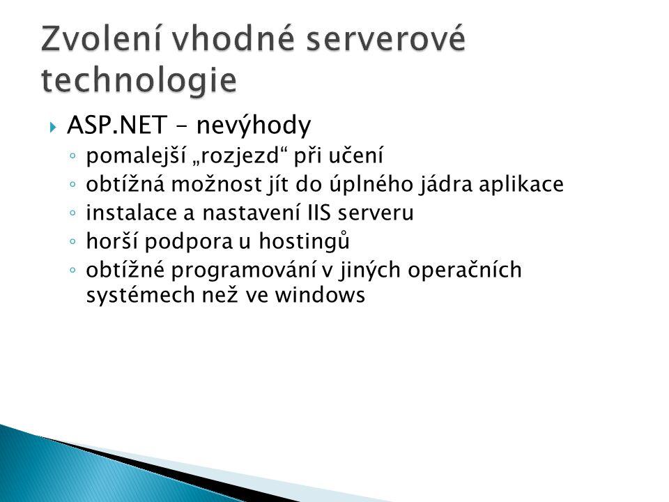 Zvolení vhodné serverové technologie