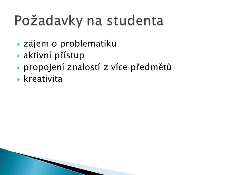 Požadavky na studenta zájem o problematiku aktivní přístup