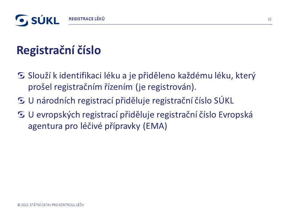 REGISTRACE LÉKŮ Registrační číslo. Slouží k identifikaci léku a je přiděleno každému léku, který prošel registračním řízením (je registrován).