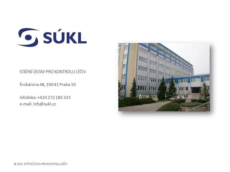 Státní ústav pro kontrolu léčiv Šrobárova 48, 100 41 Praha 10