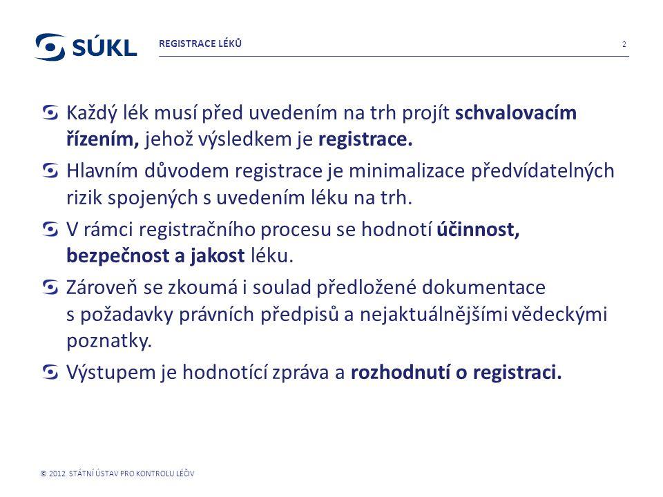 Výstupem je hodnotící zpráva a rozhodnutí o registraci.