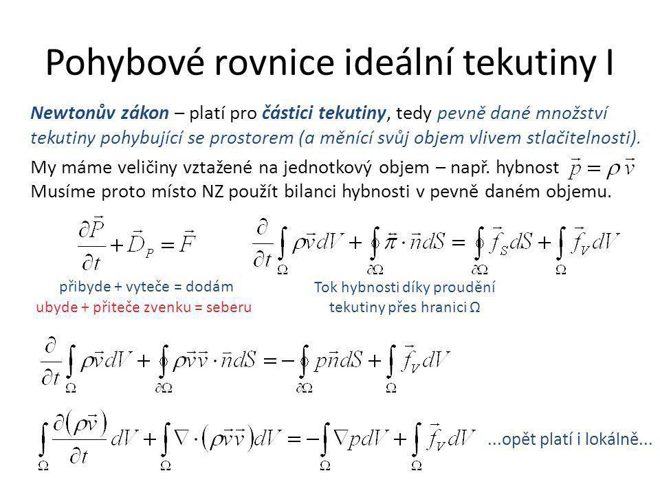 Pohybové rovnice ideální tekutiny I