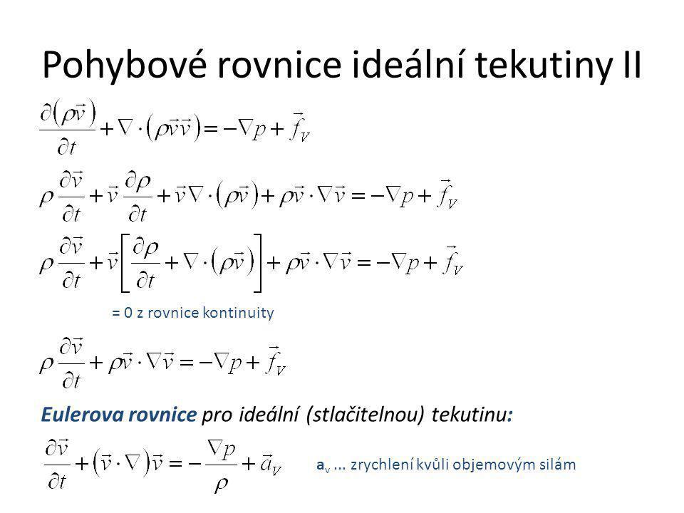 Pohybové rovnice ideální tekutiny II