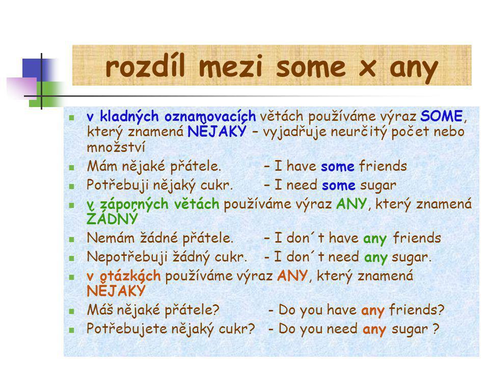 rozdíl mezi some x any v kladných oznamovacích větách používáme výraz SOME, který znamená NĚJAKÝ – vyjadřuje neurčitý počet nebo množství.