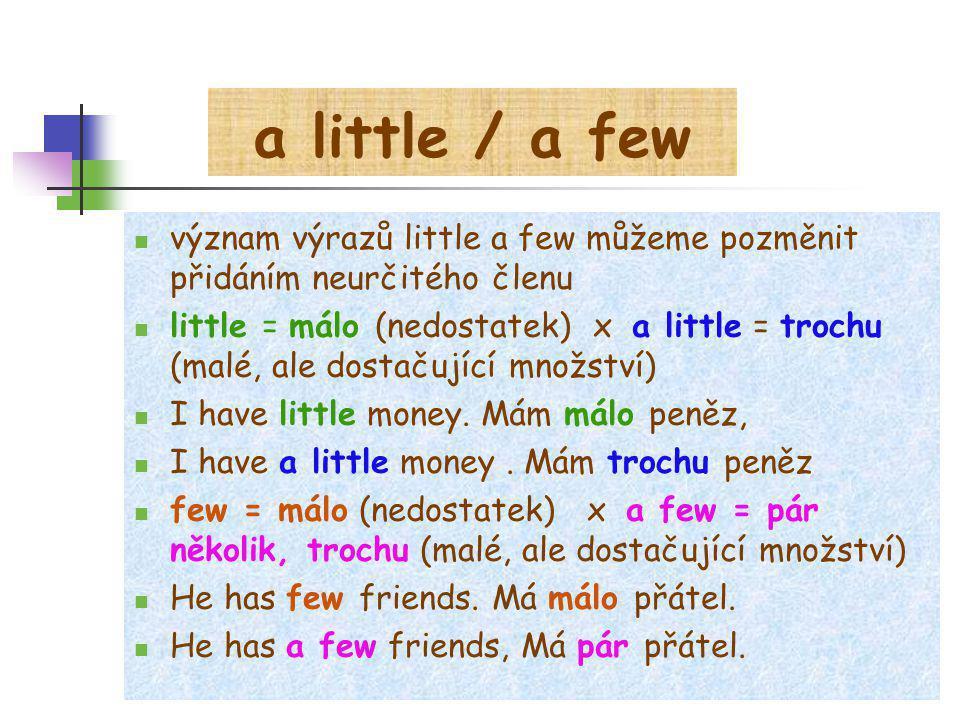 a little / a few význam výrazů little a few můžeme pozměnit přidáním neurčitého členu.