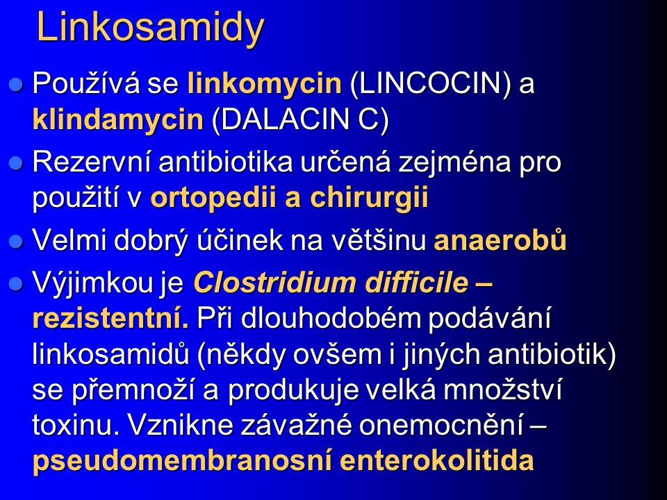 Linkosamidy Používá se linkomycin (LINCOCIN) a klindamycin (DALACIN C)