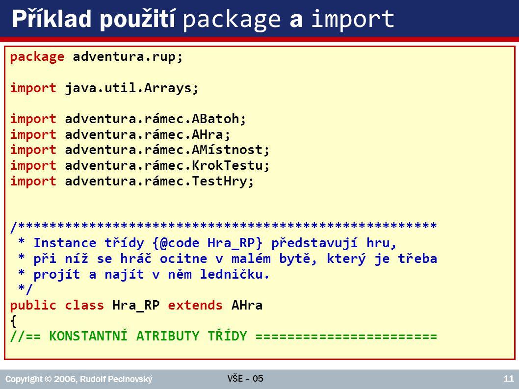Příklad použití package a import