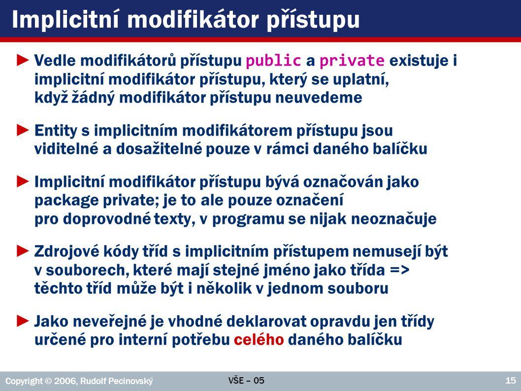 Implicitní modifikátor přístupu