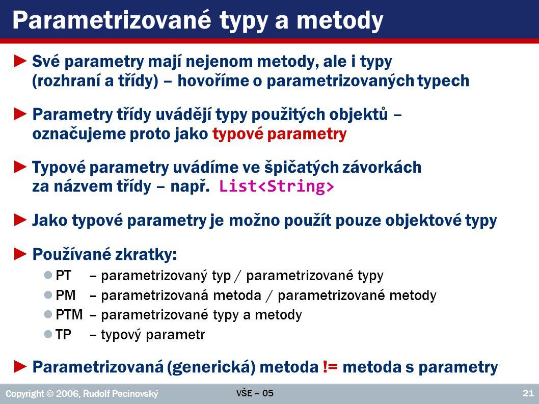 Parametrizované typy a metody