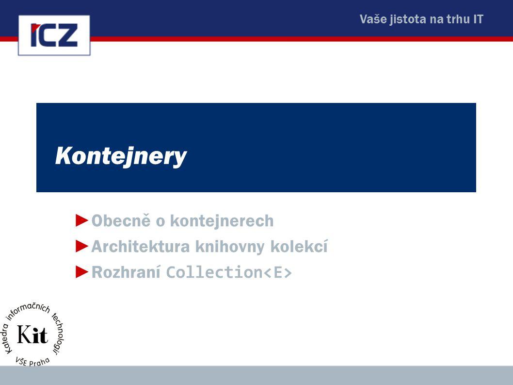 Kontejnery Obecně o kontejnerech Architektura knihovny kolekcí