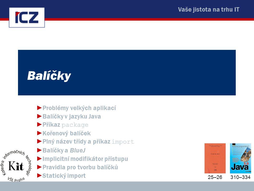 Balíčky Problémy velkých aplikací Balíčky v jazyku Java Příkaz package